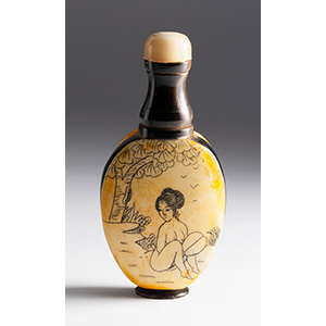 Engraved lady, bone and wood snuff ...