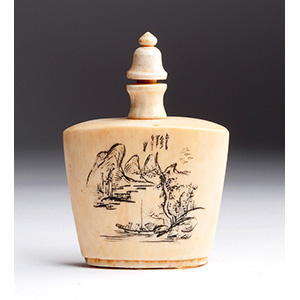 Engraved Landscape, Ivory snuff bottle; XX ...