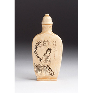 Engraved lady with poem, Ivory snuff ...