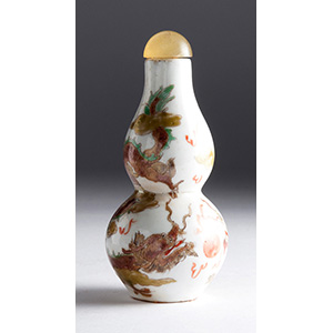 Painted double gourd porcelain snuff ...