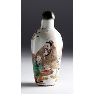 Painted porcelain snuff bottle; XX Century ; ...