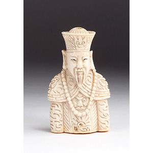 Carved Emperor Ivory snuff bottle; XX ...