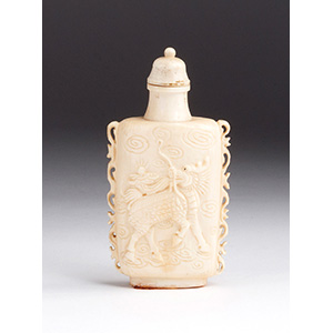 Carved Qilin, Ivory snuff bottle; XX ...