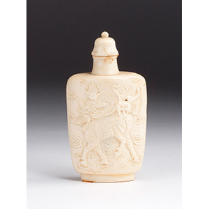 Carved Qilin Ivory snuff bottle; XX Century; ...