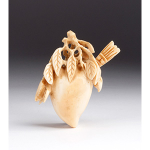 Carved fruit, Ivory snuff bottle; XX ...