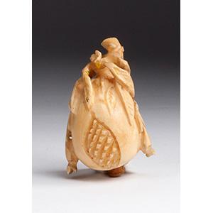 Carved pomegranate, Ivory snuff bottle; XX ...