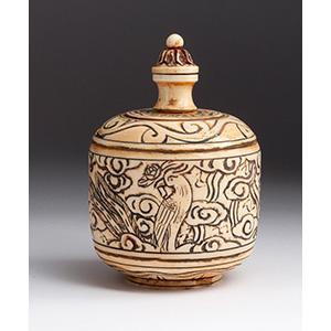 Engraved bird, ivory snuff bottle; XX ...