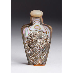 Carved landscape, mother of pearl snuff ...