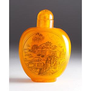 Synthetic resin snuff bottle; XX Century; ...