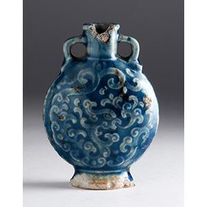 Painted ceramic snuff bottle; XX Century; ...