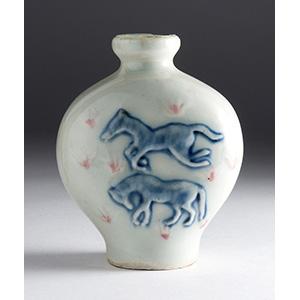 Painted porcelain snuff bottle; XX Century; ...