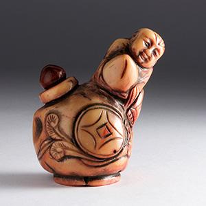 Bamboo coral snuff bottle; XX Century; 6 cm; ...