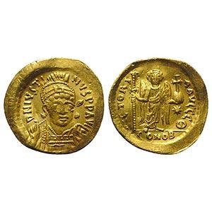 Justin I (518-527). AV Solidus (21mm, 4.12g, ...