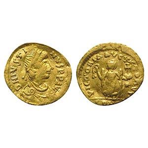 Justin I (518-527). AV Tremissis (12mm, ...