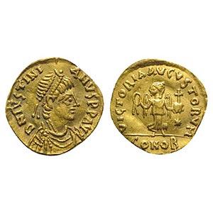 Justinian I (527-565). AV Tremissis (13mm, ...