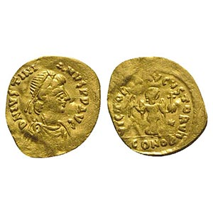 Justinian I (527-565). AV Tremissis (14mm, ...