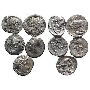 Magna Graecia, lot of 5 AR Fractions, to be ...