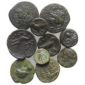 Lot of 10 Æ Greek coins, including Magna ...
