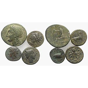Sicily, lot of 4 Æ Greek coins, to be ...