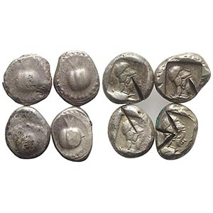 Pamphylia, Side, lot of 4 AR Staters ...