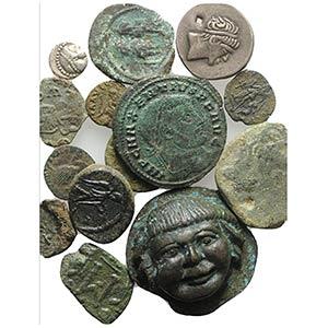 Mixed lot of 14 Greek, Roman and Byzantine ...