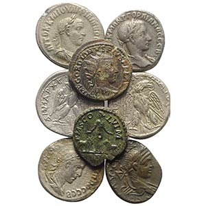 Lot of 14 Roman Provincial AR and Æ coins, ...