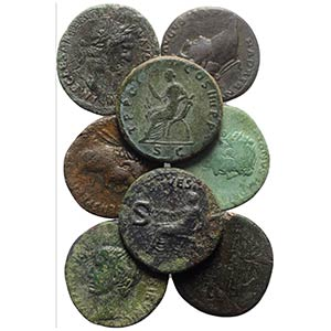 Lot of 10 Roman Imperial Æ Dupondii and ...