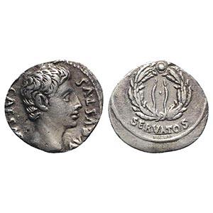 Augustus (27 BC-AD 14). AR Denarius (19mm, ...