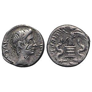 Augustus (27 BC-AD 14). AR Quinarius (12mm, ...