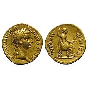 Tiberius (14-37). AV Aureus (19mm, 7.77g, ...
