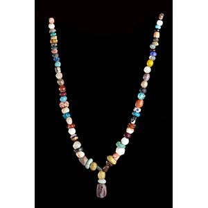 A GLASS AND STONE BEADS NECKLACE WITH ...