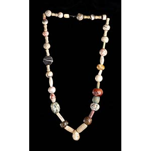 A GLASS, STONE AND SEEDS BEADS NECKLACE60 ...