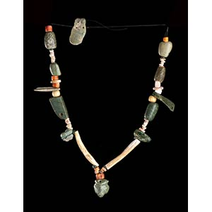 A BONE AND STONE BEADS NECKLACE WITH MASK ...