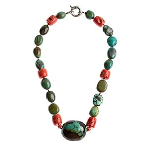 Antique coral and turquoise necklace   ...
