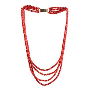 Coral necklace   four strands of ...