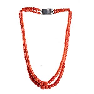 Coral necklace   two strands of graduated ...