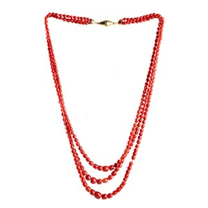 Coral necklace   three strands of graduated ...