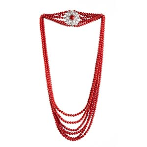 Coral and diamonds necklace   seven strands ...