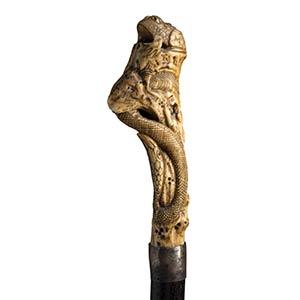 Antique bone mounted  walking stick cane - ...