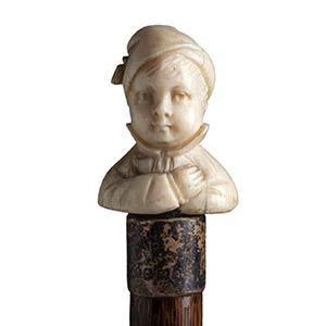 Antique ivory mounted  walking stick cane - ...