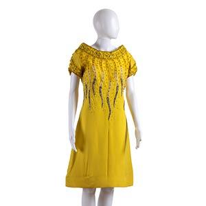 ANNA MARIA FANUCCHI  CREPE DRESS 60s  Yellow ...