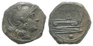 Anonymous, Rome, after 211 BC. Æ Uncia ...