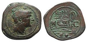 C series, Sardinia, c. 211 BC. Æ Sextans ...