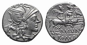 M. Junius Silanus, Rome, 145 BC. AR Denarius ...