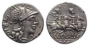 Cn. Lucretius Trio, Rome, 136 BC. AR ...