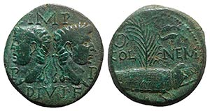 Augustus and Agrippa (27 BC-14 AD). Æ As ...