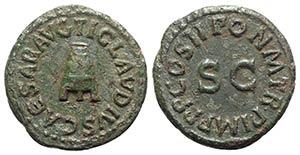Claudius (41-54). Æ Quadrans (18mm, 3.00g, ...