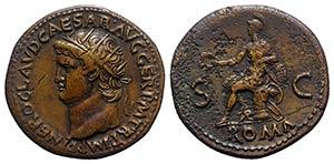 Nero (54-68). Æ Dupondius (30mm, 14.47g, ...
