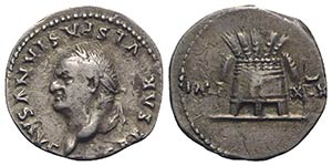 Vespasian (69-79). AR Denarius (17mm, 3.44g, ...