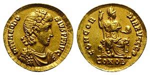 Theodosius I (379-395). Fake AV Solidus ...